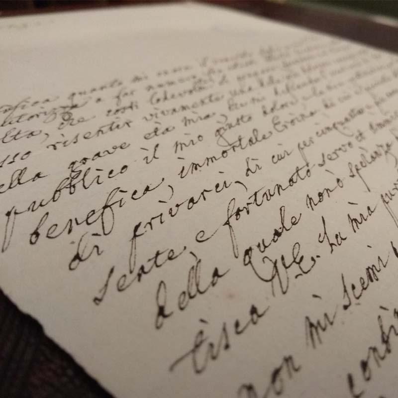 Biblioteca Universitaria di Pavia: Autografi 8. Pietro Metastasio, Lettera al Marchese de' Belcredi, 1773