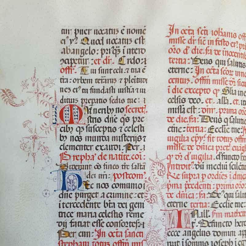Ticinesi 814, Ordo missalis secundum usum Romanae Curiae Anno MCCC. Membr., XV sec., 325 cc., 225 x 185 mm.