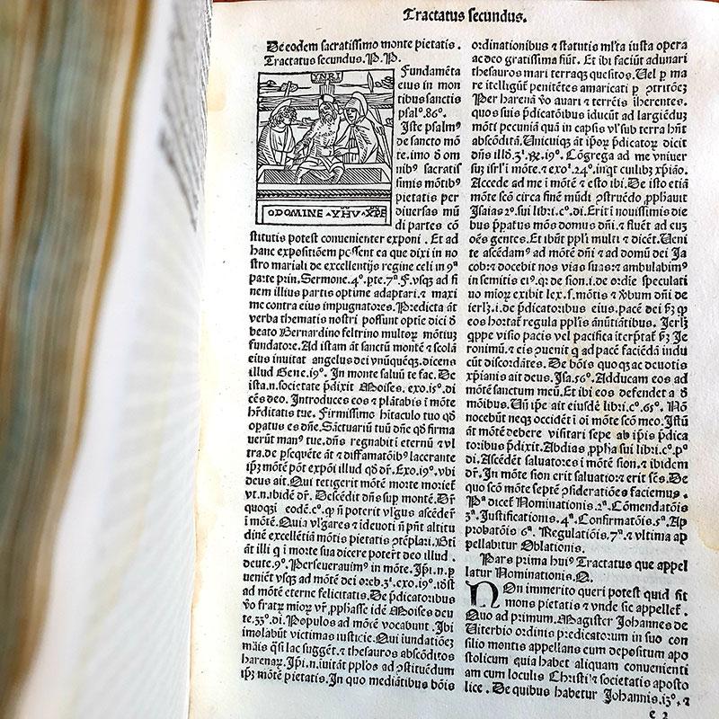 Bernardino Busti, Defensorium Montis pietatis contra figmenta omnia aemulae falsitatis. Milano, Uldericus Scinzenzeler, 1497 (M.N. 21 A 24)