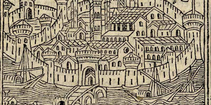 Veduta di Pavia, incisore Gerolamo de Sancti, XVI sec. (Stampe pavesi 1 02)