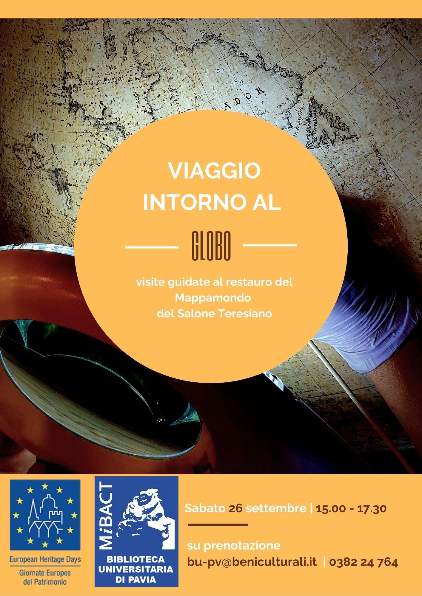 Viaggio intorno al Globo - Visite guidate al restauro del Mappamondo del Salone Teresiano - Locandina
