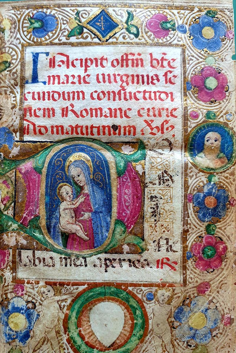 Aldini 1, Officium B.M.V. secundum consuetudinem Romanae Curiae. Membr., sec. XIV, 180 cc. n.n., 78 x 57 mm.