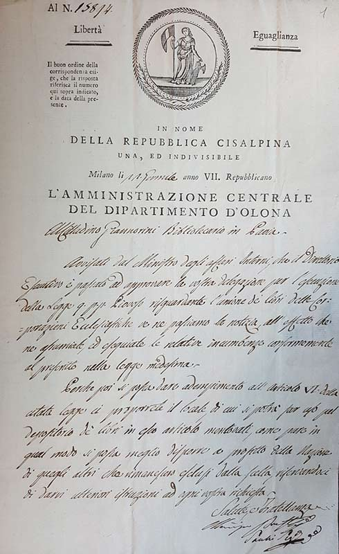 Archivio storico, Biblioteca Universitaria di Pavia, 1799